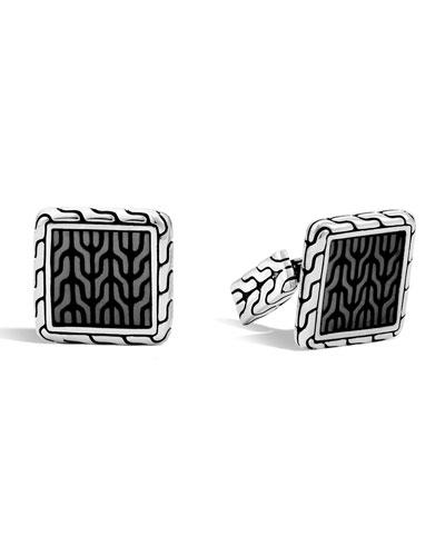 Woven Square Enamel Cuff Links  Gray
