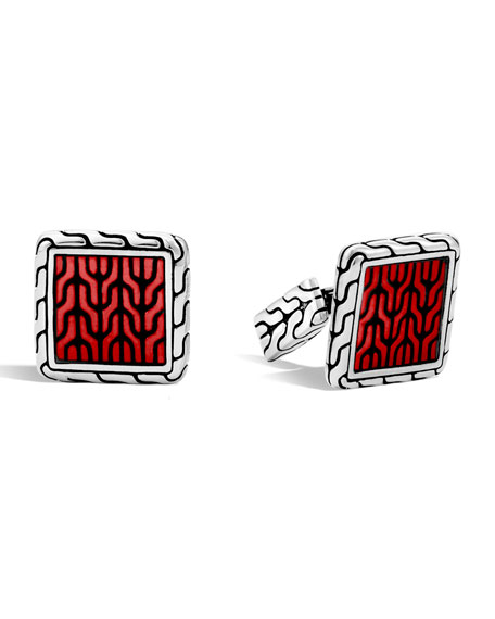 John Hardy Woven Square Enamel Cuff Links, Red