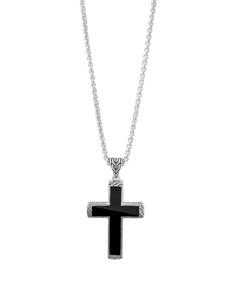 John Hardy Men's Classic Chain Black Jade Cross