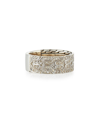Men's Classic Chain Silver & Diamond Band Ring