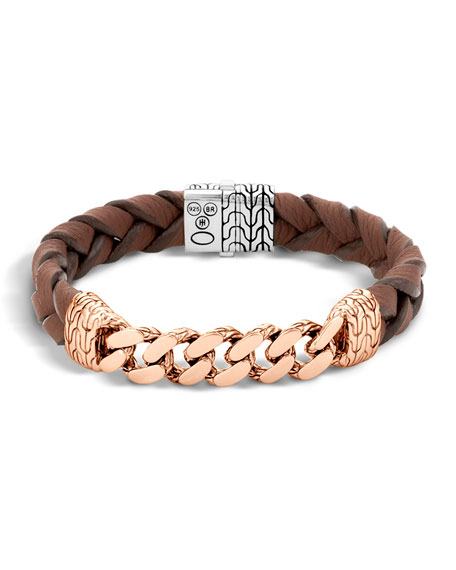 Classic Chain Men's Bracelet with Leather Strap