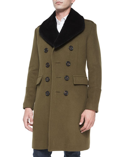 Rabbit-Fur Collar Military Coat, Olive
