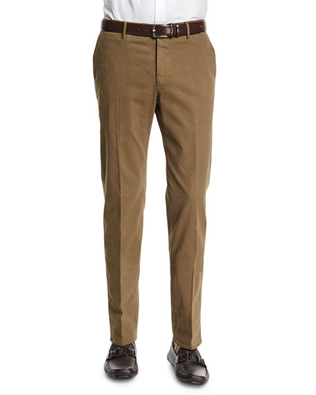 Incotex Standard-Fit Brushed Stretch Cotton Pants, Olive