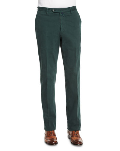 Standard-Fit Brushed Stretch Cotton Pants, Emerald