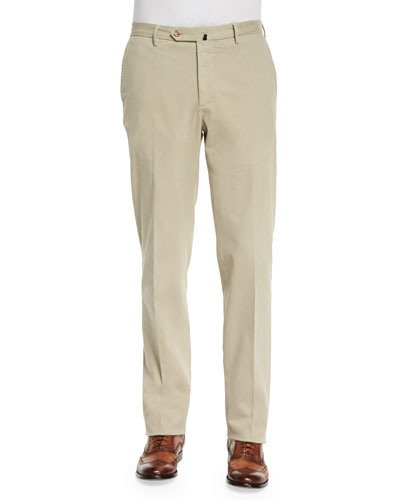 Standard-Fit Brushed Stretch Cotton Pants, Light Khaki