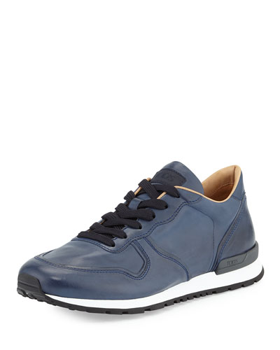 Runner Leather Sneaker, Navy Blue