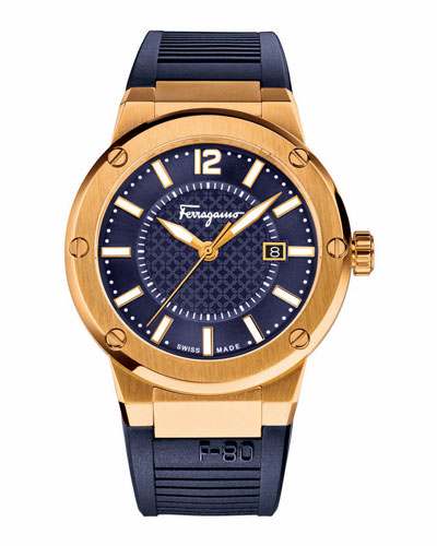 F-80 Gold Ion-Plated Watch, Blue