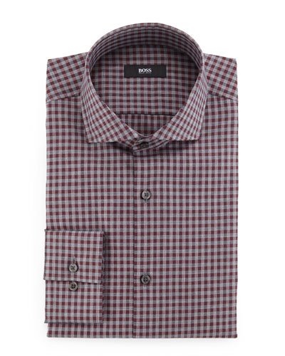 Jaser Slim-Fit Check Dress Shirt, Red/Gray