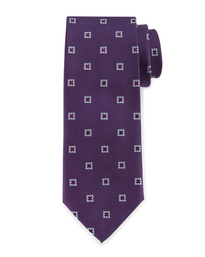 Neat Box Silk Tie, Purple