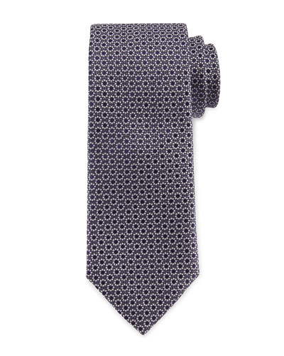 Neat Flowers Silk Tie, Purple