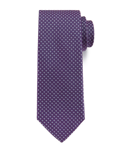 Open Dot Silk Tie, Purple