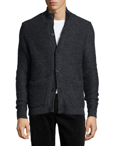 Textured Button-Down Sweater, Charcoal