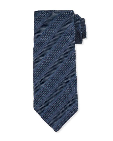 TOM FORD Textured Stripe Silk Tie, Blue
