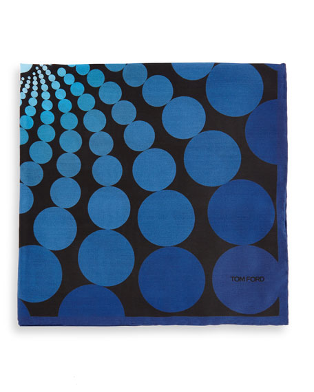 TOM FORD Floating Circle-Print Pocket Square, Blue