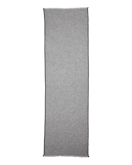Exclusive Cashmere Side-Tipped Scarf w/Gift Box, Light Gray