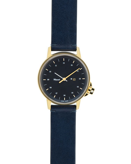 M12 Watch with Leather Strap, Navy/Gold