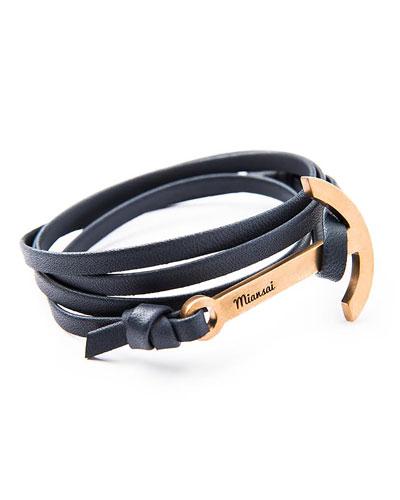 Modern Anchor Leather Bracelet, Navy