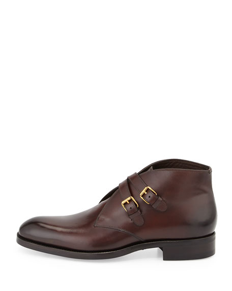 Image 3 of 4: Edward Double-Buckle Boot, Burgundy