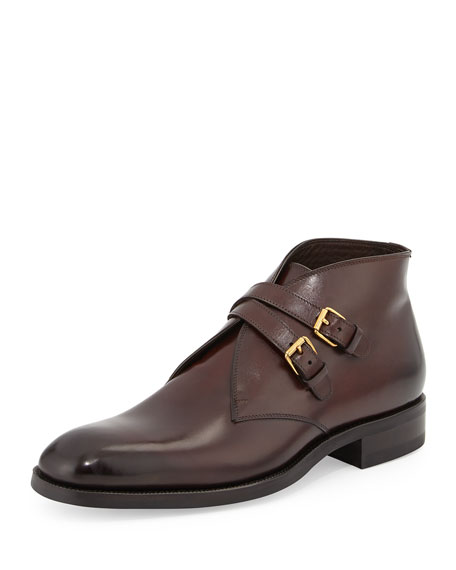 Image 1 of 4: Edward Double-Buckle Boot, Burgundy