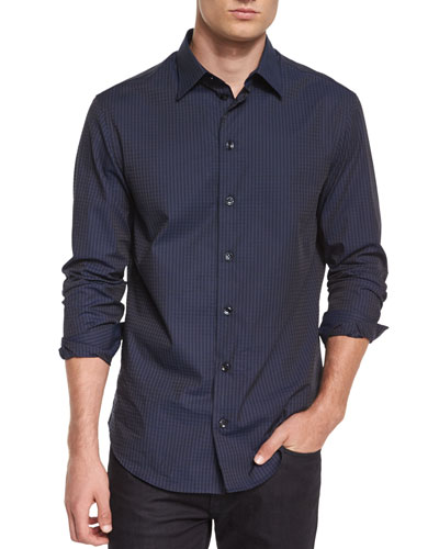 Tonal Plaid Long-Sleeve Woven Shirt, Navy