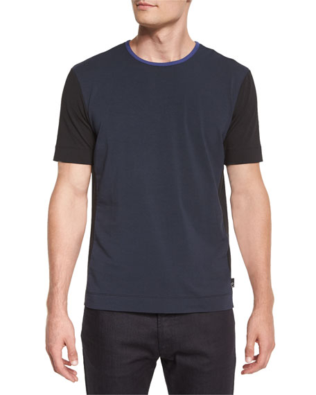 Armani Collezioni Colorblock Short-Sleeve Knit Tee, Blue/White