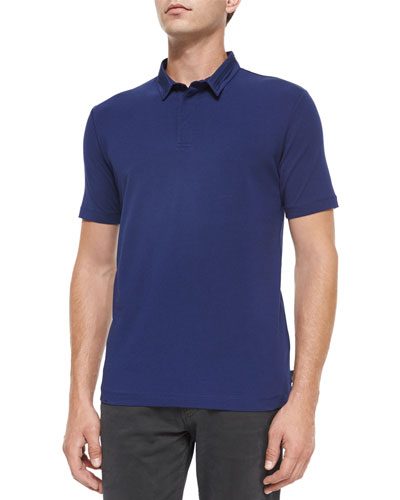Short-Sleeve Polo Shirt with Double Collar, Blue
