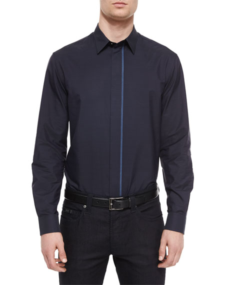 Armani Collezioni Solid Button-Down Shirt with Chambray-Placket,