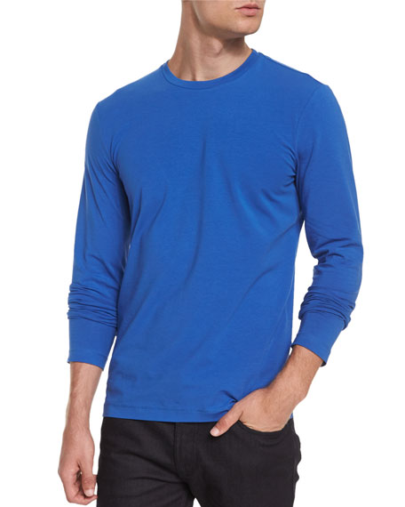 Armani Collezioni Solid Long-Sleeve Knit Tee, Metallic Blue