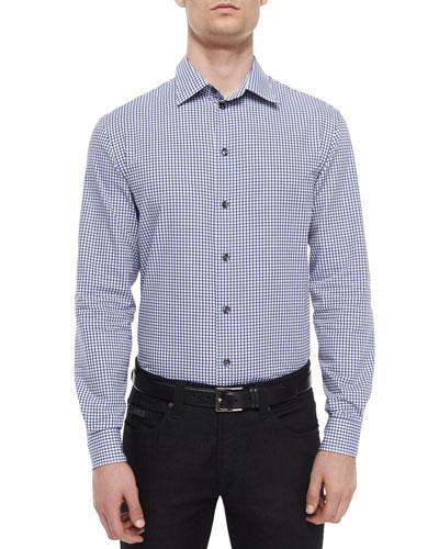 Plaid Long-Sleeve Woven Sport Shirt, Navy