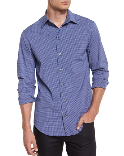 Check Long-Sleeve Woven Shirt, Navy