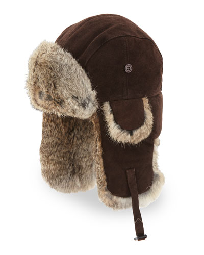 Suede Trapper Hat with Rabbit Fur, Brown