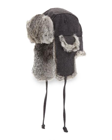 Crown Cap Wool Aviator Hat with Rabbit Fur,