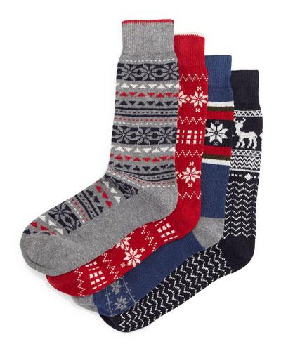 Nordic-Print Cashmere Sock Set, Multi