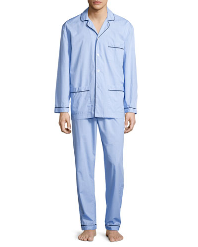 Graph-Check Cotton Pajama Set, Blue