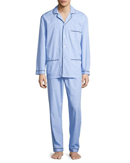 Neiman Marcus Graph-Check Cotton Pajama Set, Blue