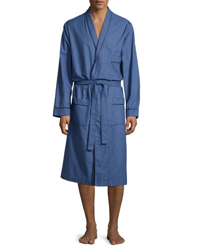 Check Robe with Piping, Navy