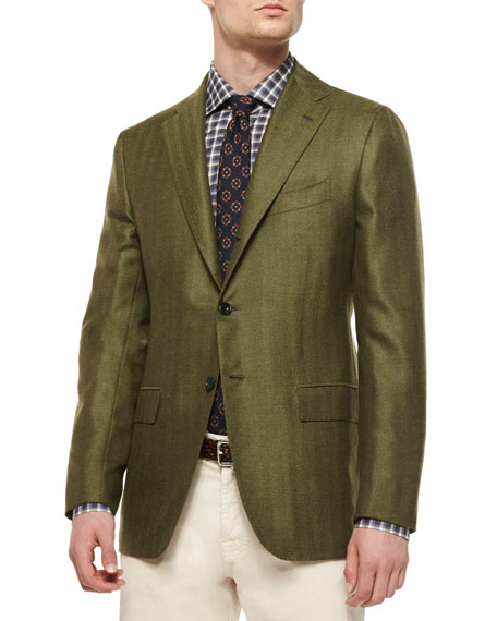 Kiton Herringbone Two-Button Cashmere Sport Coat, Green