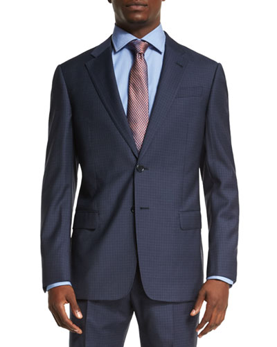G-Line Melange Two-Piece Wool Suit, High Blue