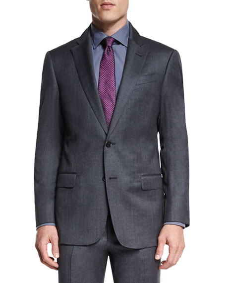 Armani Collezioni G-Line Melange Two-Piece Suit, Gray