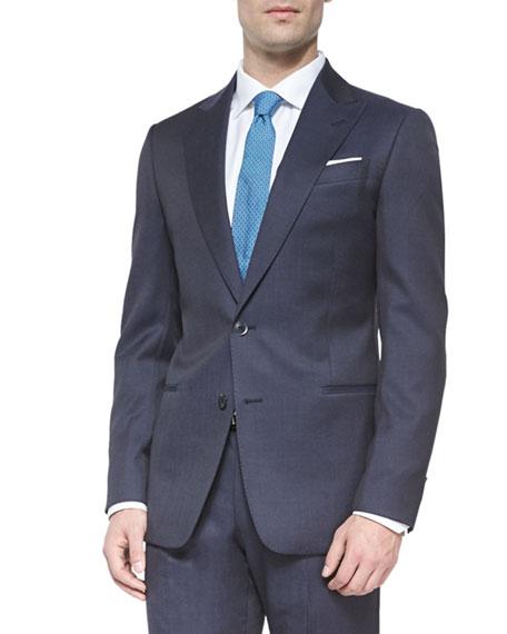 Armani Collezioni G-Line Micro Pindot Two-Piece Suit, Navy