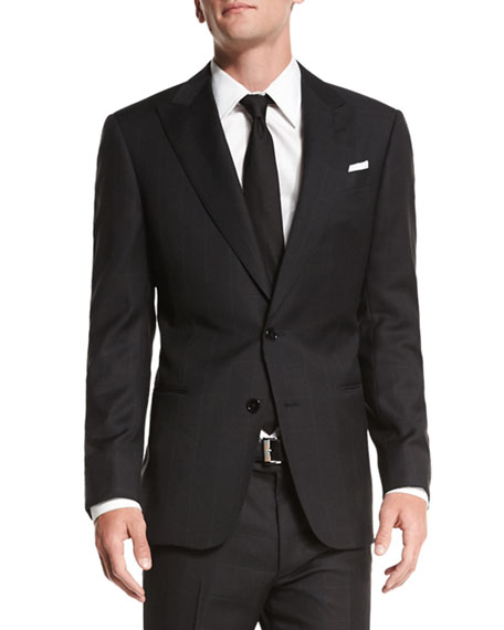 Armani Collezioni G-Line Textured Windowpane Wool Suit, Black