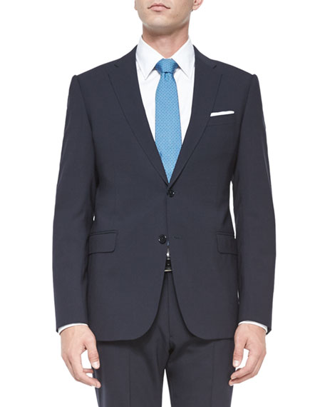 Armani Collezioni M-Line Stretch-Solid Two-Piece Suit, Navy