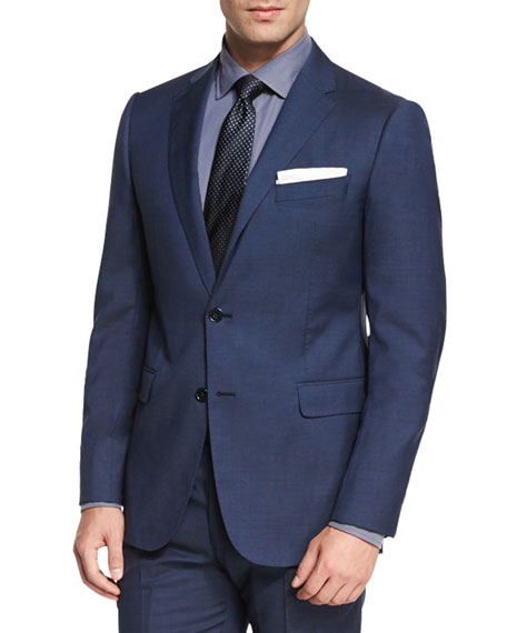Armani Collezioni M-Line Solid Two-Piece Suit, High Blue
