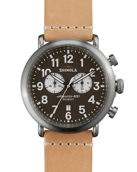 Shinola 47mm Runwell Chronograph Watch, Natural