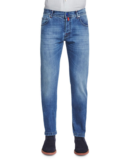 Kiton Slim-Fit Medium-Wash Denim Jeans, Blue