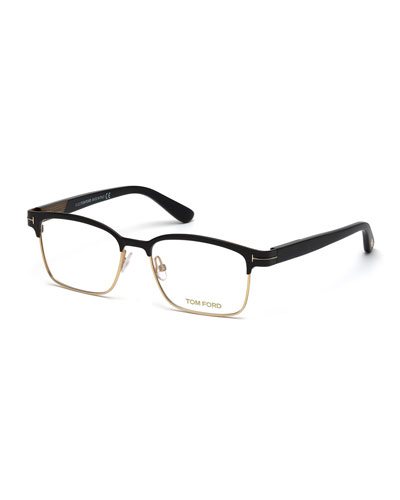 Shiny Metal Square Eyeglasses  Rose Gold/Black