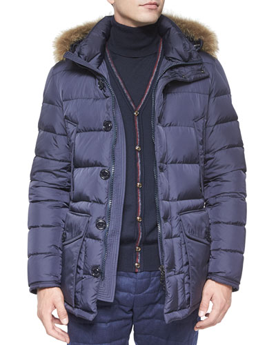Cluny Nylon Puffer Jacket with Fur Hood, Navy