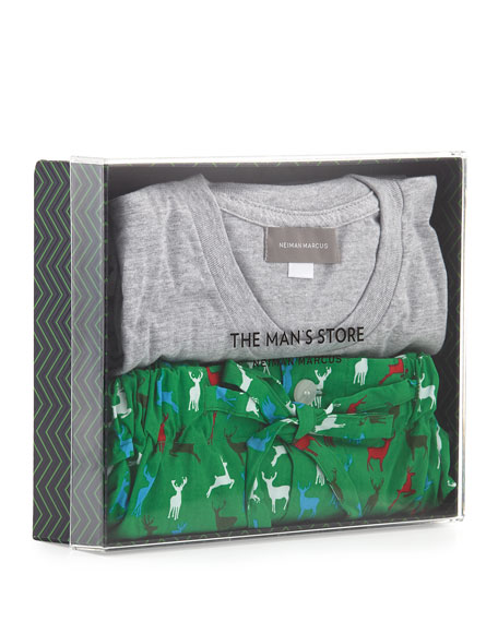 Neiman marcus boxed holiday print pajama set green for Neiman marcus christmas cards
