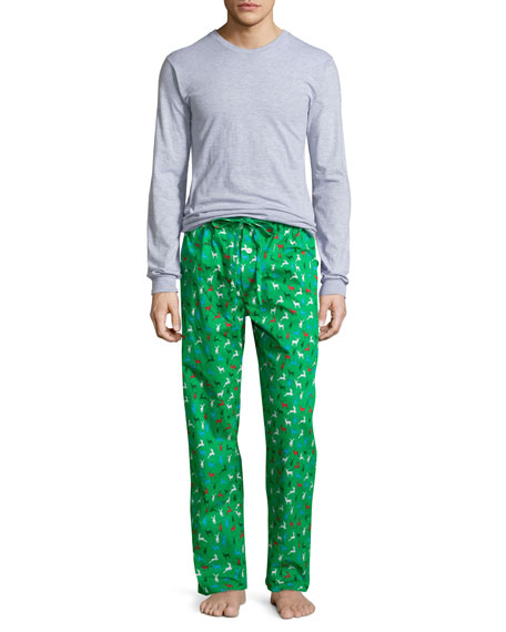 Neiman Marcus Boxed Holiday-Print Pajama Set, Green