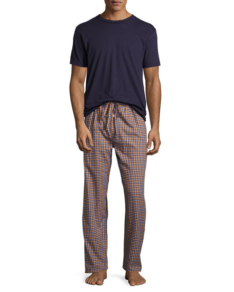 Neiman Marcus Flannel Two-Piece Pajama Set, Orange